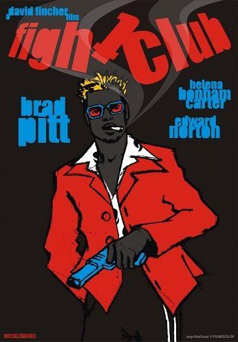 Fight Club, Brad Pitt,  polski plakat filmowy, Michał Książek