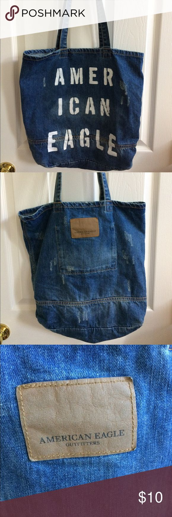 NWT American Eagle distressed denim tote bag Cute distressed denim tote has long shoulder straps. New with tags. Smoke free home. American Eagle Outfitters Bags Totes