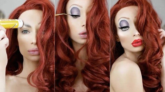 Make-up artist Nikki French shows off dramatic Jessica Rabbit inspired look in a video posted to her instagram page.