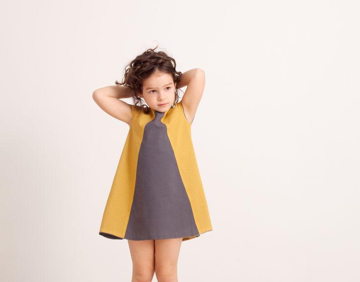 Vestito double-face, giallo-grigio