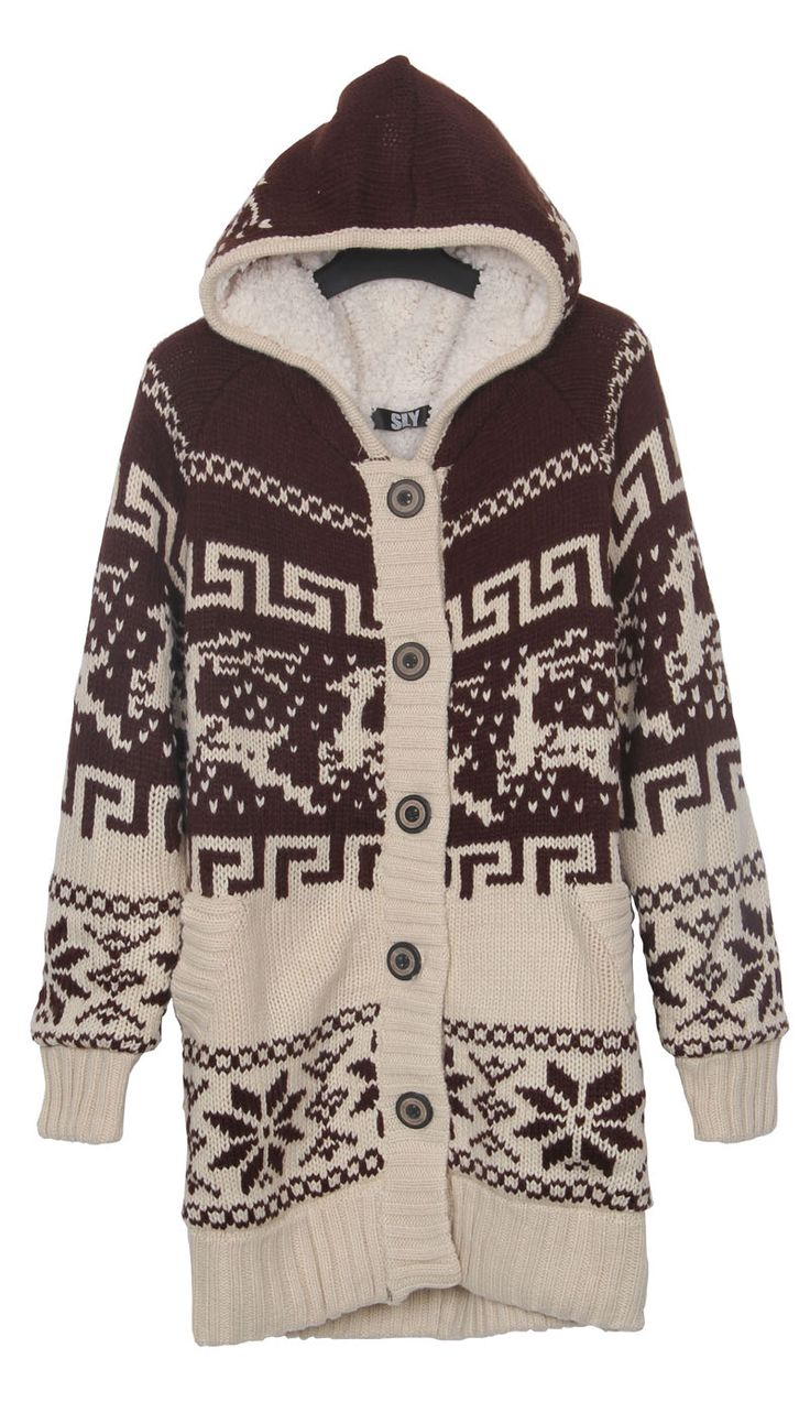 Khaki Deer and Snowflake Christmas Pattern Hooded Sweater Coat pictures Sweater Coat