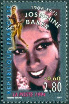 В 1994 году Почтовая служба Франции выпустила серию «Зве изображена Жозефина Бейкер (1906 – 1975) – американо-французская танцовщица, певица и актриса.зды театра и кино»
