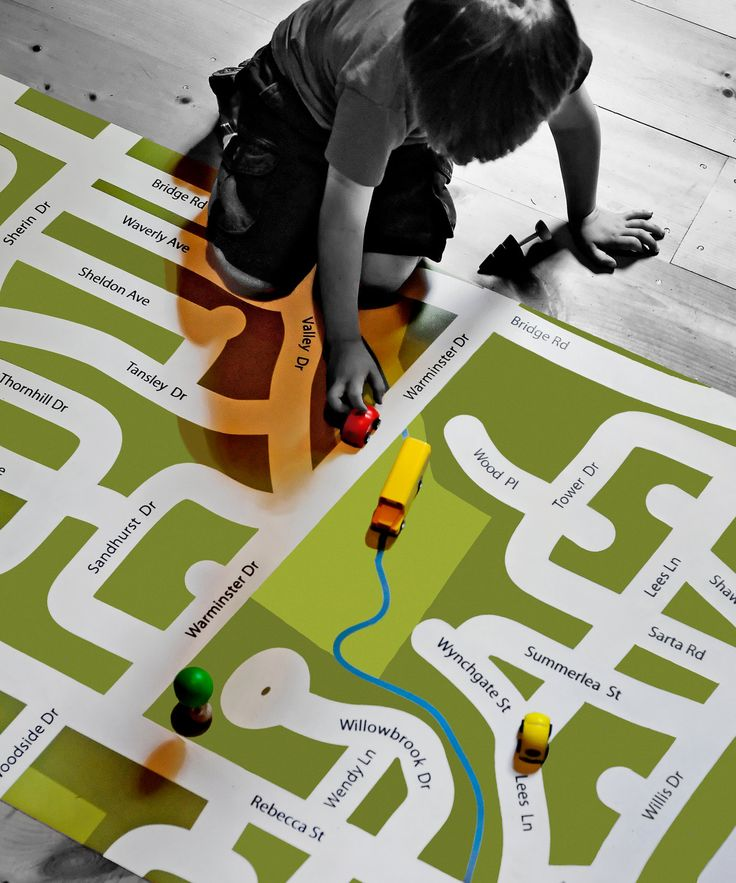 How cool is this! The child gets to learn the local streets in their neighborhood, while driving their toy cars on this custom-designed road map play mat.