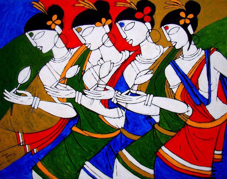 Jiaur Rahman: Tribal Dance painting selling at Indian Art Buyers