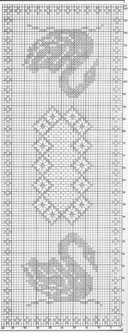 Filet crochet tablecloth diagram.