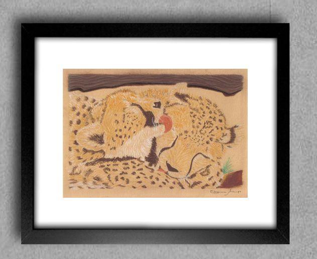 Guepardos (2008)  Técnica: Pastel seco sobre papel, 24x30cm DISPONÍVEL PARA VENDA  (R$80 com moldura)