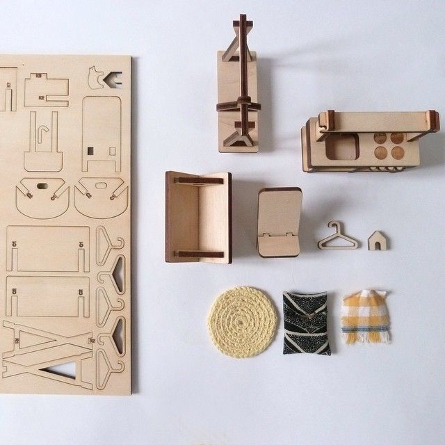 Diy Miniature Doll House Flat Packed Cardboard Kit Mini: Doll's Furniture Milkywood #woodentoys #lasercut