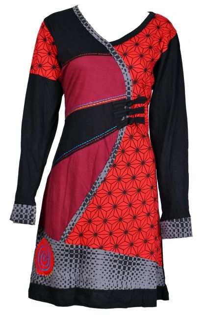 Ladies Long Sleeved v-Neck Dress with Cubic Print and Embroidery Design- ROSEMARRY (RED-4005