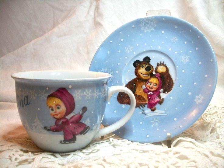 Foto: masha e orso  tazza da colazione in porcellana dipinta a mano