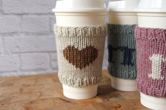 Knit Coffee Cozy Coffee Sleeve Personalized Coffee by NevadaKnits