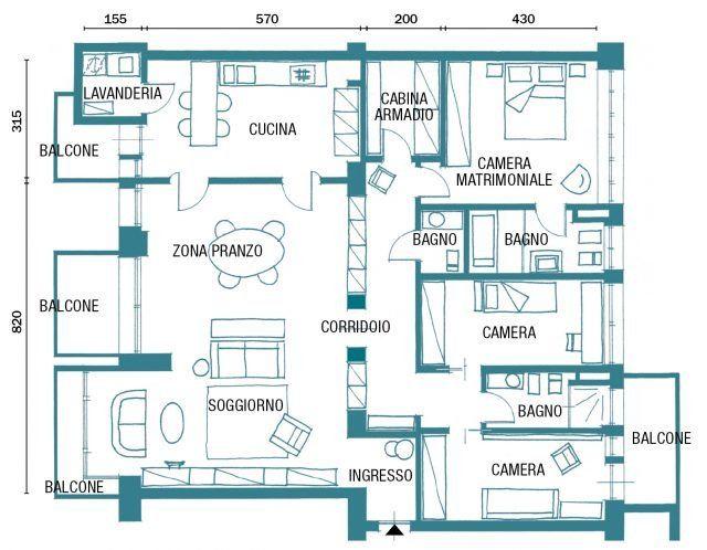 150 mq tutti da copiare dalla divisione soggiorno cucina for Planimetria di una casa