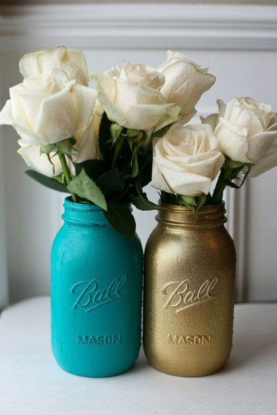 Painted Distressed Mason Jars  Teal and Gold by PinkBirdieJar