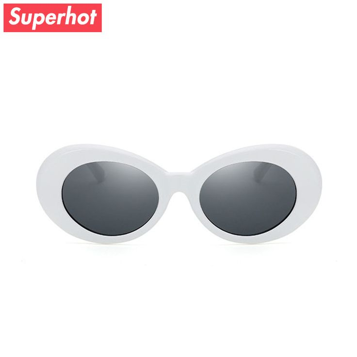 Superhot Eyewear - Kurt Cobain 90s-Style White Oval Sunglasses Men Women Retro Vintage Sun glasses Black Red Alien Shades UV400