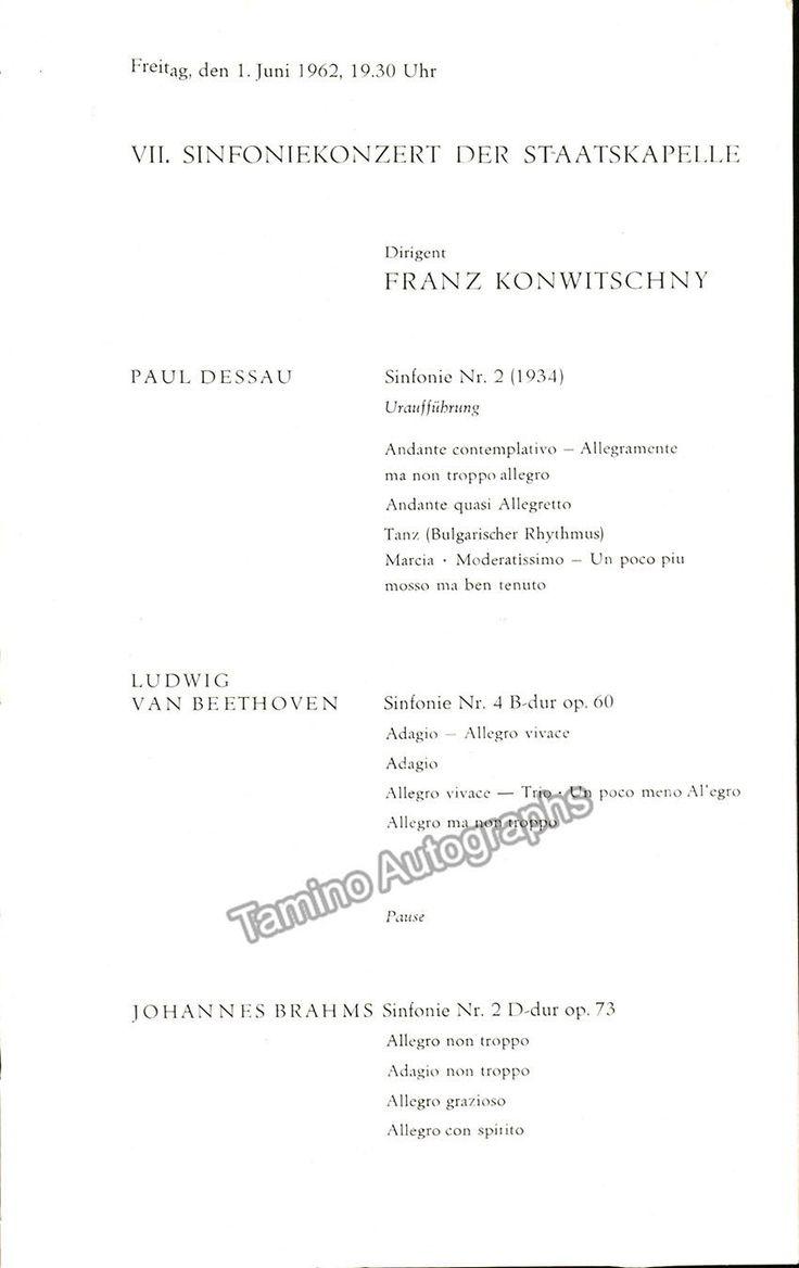 Dessau, Paul - World Premiere Program Symphony 2