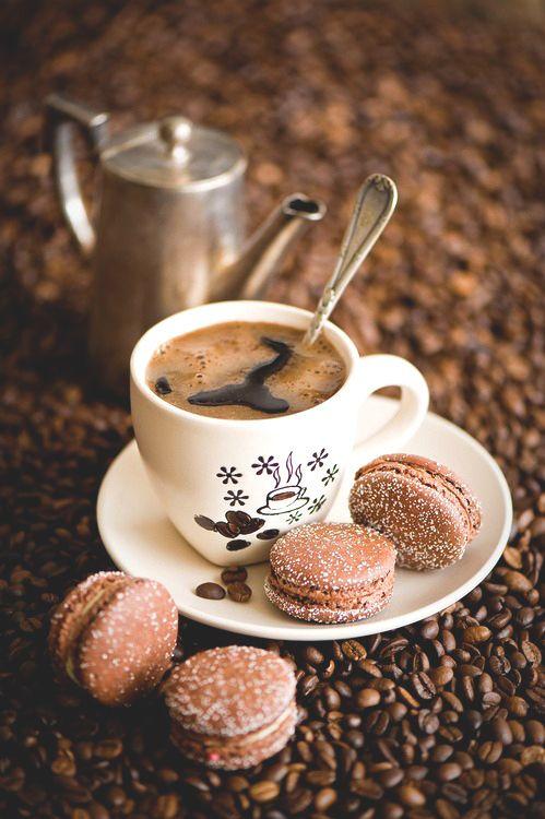 coffee, macarons, and food image