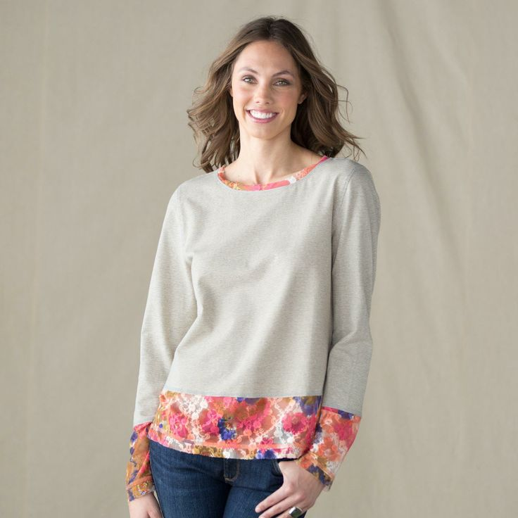 """***Simple solution to the too short t-shirt...don't forget the neckline. BLOOMING STRIPES TEE--Pairing graphic stripes with free-spirited blossoms, our tee is the perfect blend of order and eclectic exuberance. Jersey knit with mesh trim. Cotton, spandex, polyester. Machine wash. Imported. Exclusive. Sizes XS (2), S (4 to 6), M (8 to 10), L (12 to 14), XL (16). Approx. 25""""L."""