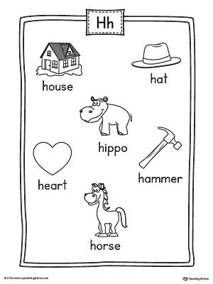 Letter H Word List with Illustrations Printable Poster