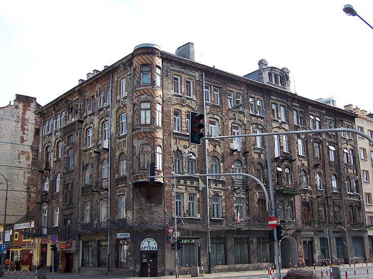 Tenement house at the corner of Jagiellońska and Stefana Okrzei streets in Warsaw, Poland