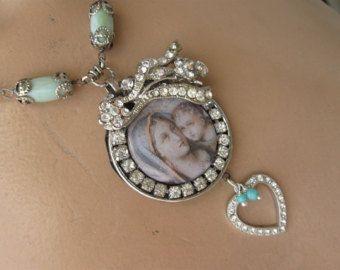 Amore perfetto... Annata incollare antico francese Madonna e bambino strass cuore assemblaggio collane