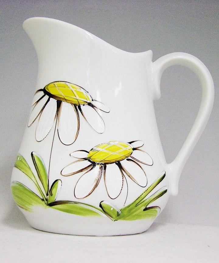 Pichet à eau : : Marguerites Produit peint à la main.
