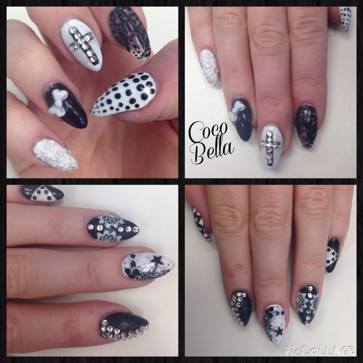 All nails black and white with different designs. Gelish. Acrylic. Swarovski. Coco Bella Nail Bar