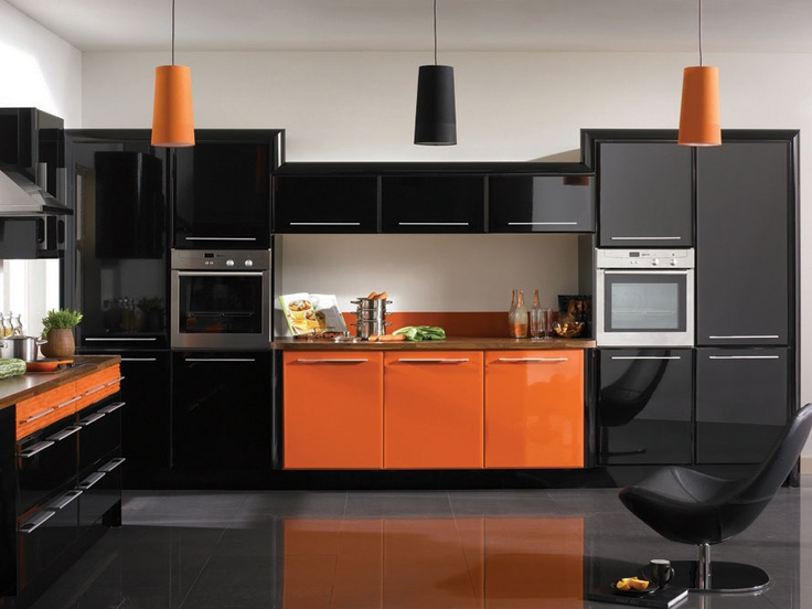 High Gloss Paprika & High Gloss Black Kitchens