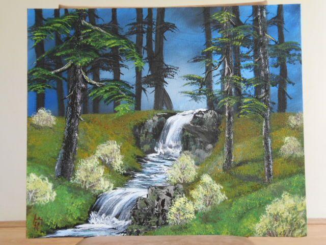 Erdő, akril festmény, 50x70 cm vászon