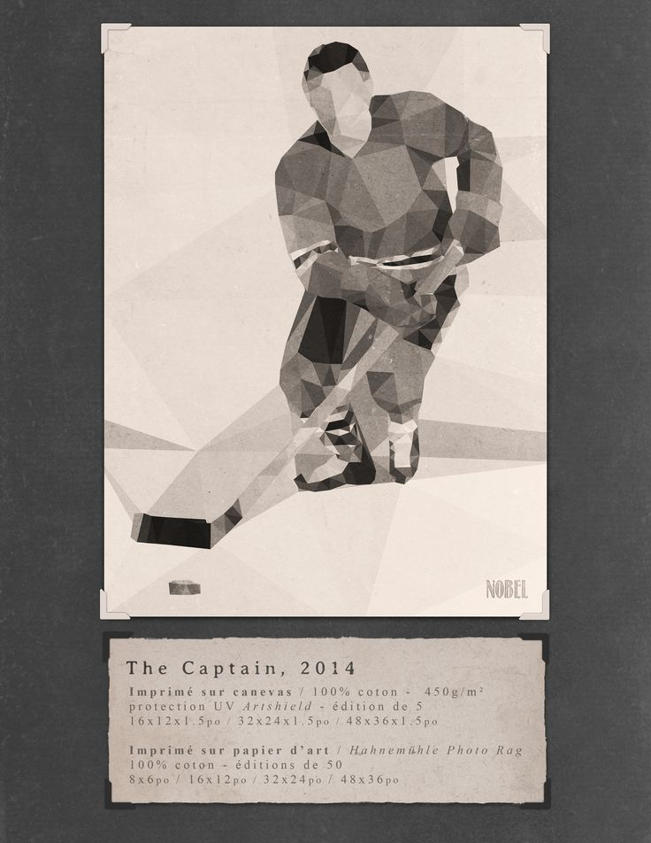The Captain, 2014. 48x36in. #print on canvas & print on #Hahnemühle Photo Rag. Limited edition. #chic #shack #shabby #vintage #hockey #player Artist is Boris Nobel / Taken from his portfolio.