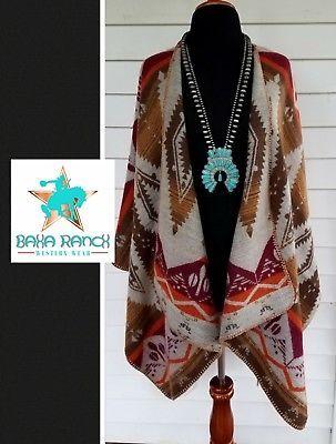 COWGIRL gYPSY shawl wrap poncho duster AZTEC SOUTHWESTERN Tribal Western OSFM