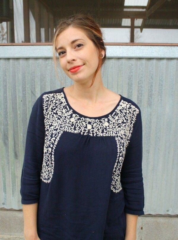 February stitch fix sia embroidery peasant top by skies