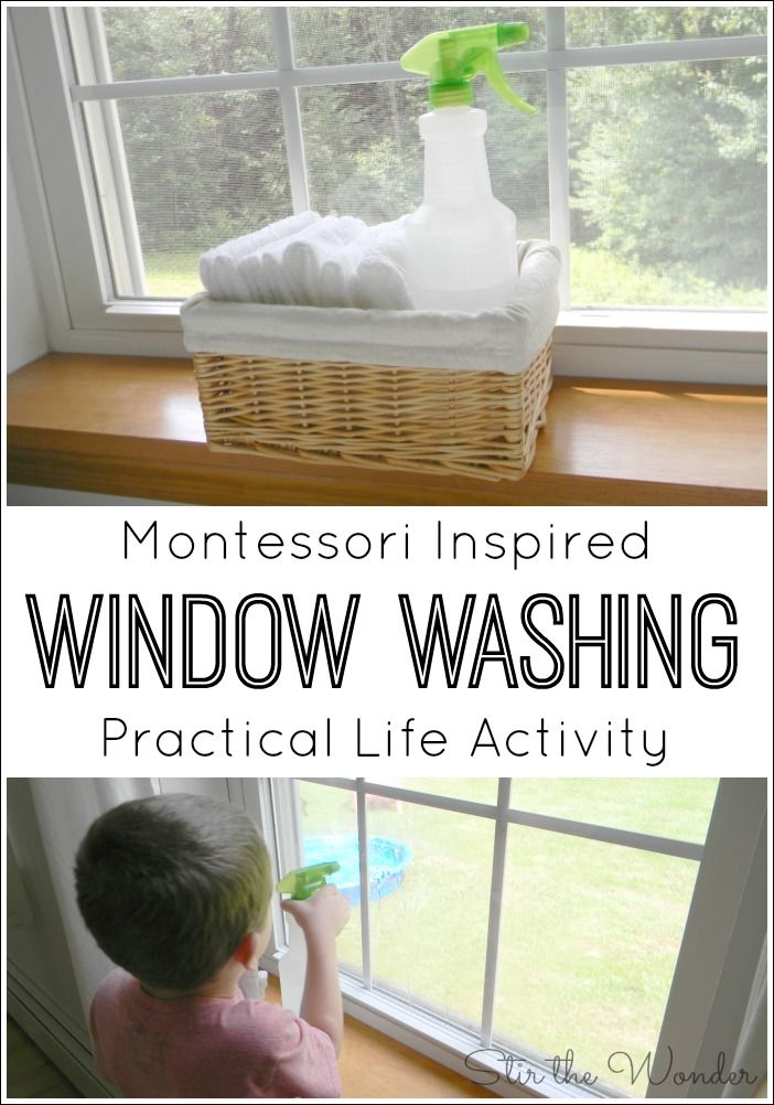 Preschoolers love helping out around the house! This Montessori Inspired window washing activity will teach a real practical life skill & fine motor skills.