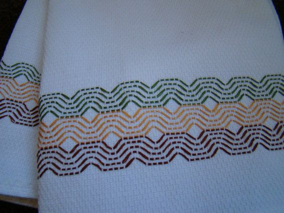Handmade Swedish Weaving Embellished Towels Set of 2
