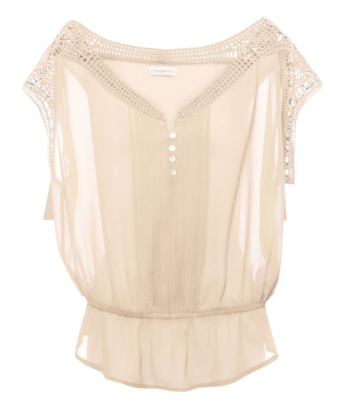 PLEATED BUTTON-UP BLOUSE - BLOUSES AND SHIRTS - WOMAN - PULL&BEAR Greece