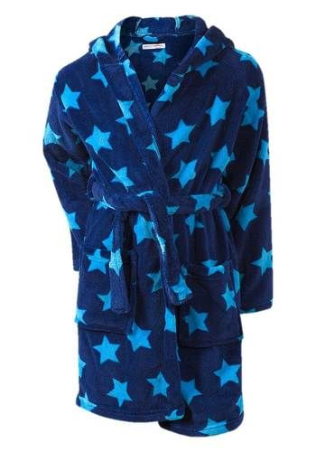 Boys Blue Stars Soft Touch Fleece Hooded Bath Robe  c75dd7fb7