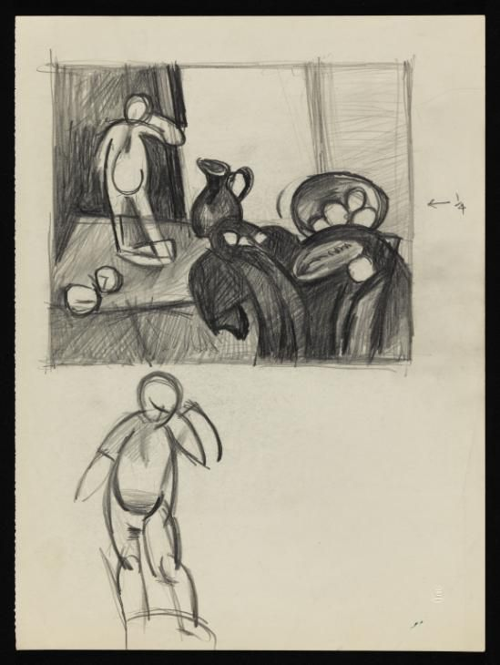 Keith Vaughan 'Two drawings of a still life figurine', [1951] © The estate of Keith Vaughan