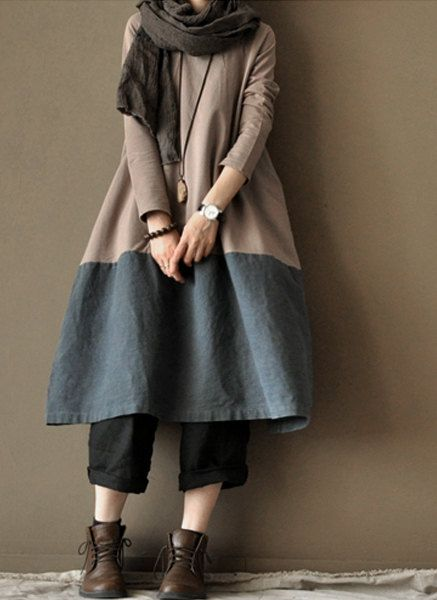 Old Blue  linen dress  two-piece cotton dress loose cotton  dress  love the colors, the drape  $86.00, via clothingshow Etsy.