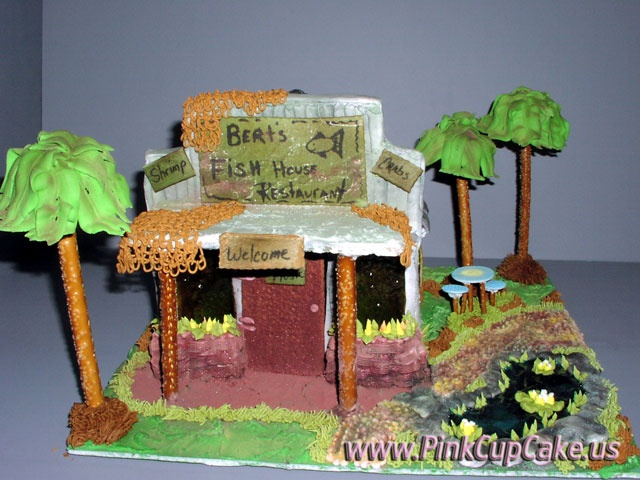 Berts Fish House - gingerbread display by the Johnston family