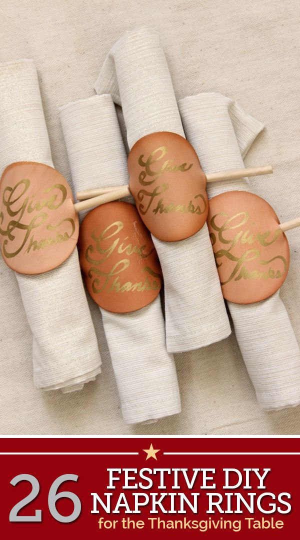26 Festive DIY Napkin Rings for the Thanksgiving Table | thegoodstuff