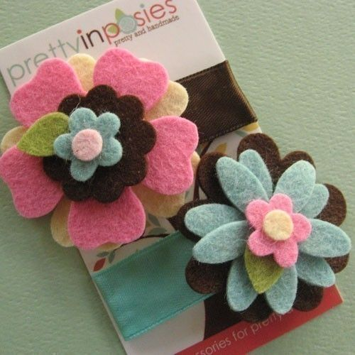 Felt Flower Hair Clip  Candy Land You Choose the by PrettyinPosies, $10.00