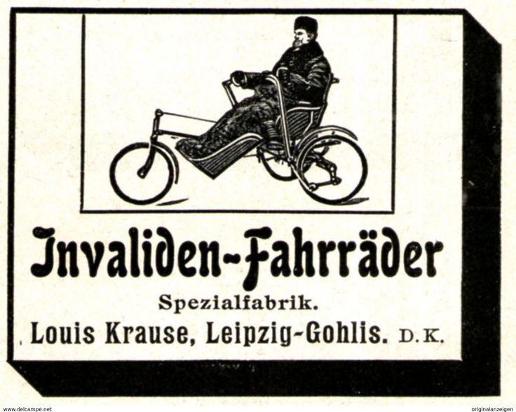 Original-Werbung/ Anzeige 1907 - INVALIDEN FAHRRÄDER / LOUIS KRAUSE - LEIPZIG - GOHLIS - Ca. 55 X 45 Mm - Werbung