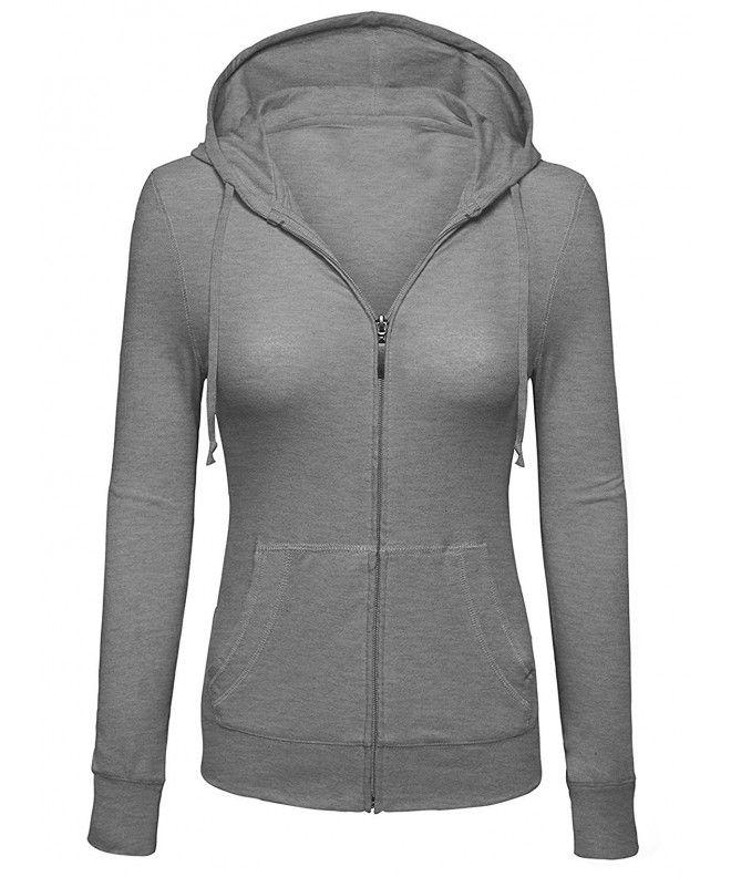 4498f3aa3 Women's Basic Solid Knit Long Sleeve Zip Up Hoodie Jackets (Multiple  Colors- S-3XL) - Heather Grey - C4184D8D5Z3,Women's Clothing, Hoodies &  Sweatshirts ...