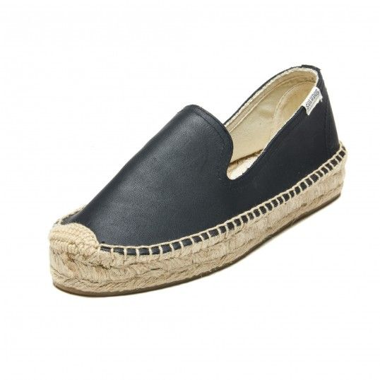 Platform Smoking Slipper - Leather Black Espadrilles for Women from Soludos  - Soludos Espadrilles