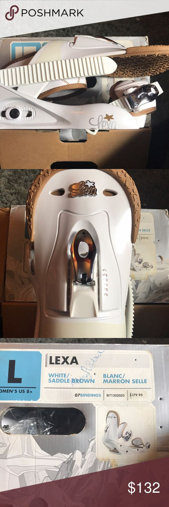 Burton Lexa snowboard bindings! Size large. Perfect condition, never been used. Comes in the original box. White with brown detailing. Burton Shoes Winter & Rain Boots