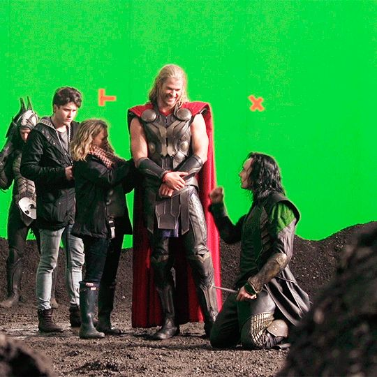 Tom and Chris on the set of Thor: The Dark World