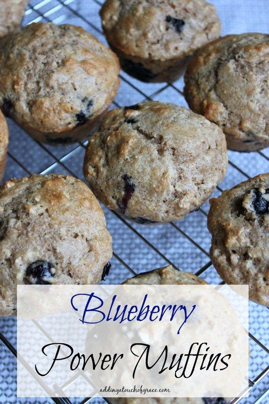 These Blueberry Power Muffins aren't overly sweet and make the perfect breakfast on the go. - A Touch of Grace