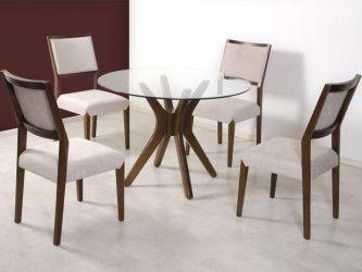 tipos de mesa de jantar de vidro redonda 4 lugares