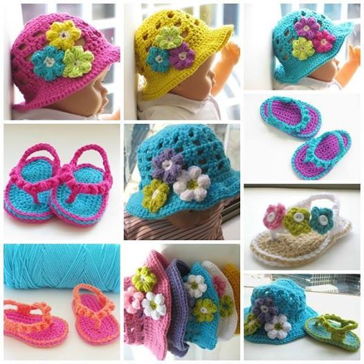 Crochet Flip Flops and Hat Set --- perfect gift for your sweetie !  Check pattern--> http://wonderfuldiy.com/wonderful-diy-crochet-flip-flops-and-hat-set/