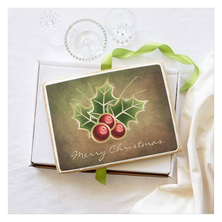 Shining Holly Berry Christmas customizable design on Premium Jumbo Shortbread Cookie