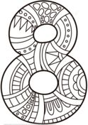 Number 8 Zentangle Coloring page