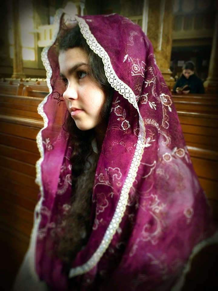 Purple Infinity Veil, Embroidered Lace Infinity Scarf for Mass, Chapel Veils, Modest Headcovering, Veil for Advent or Lent, Latin Mass Veils